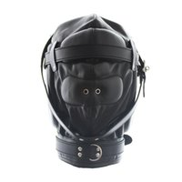 Wholesale Padded Blindfold - Hot Sale Faux Leather Full Gimp Hooded Mask Padded Locking Blindfold Open Mouth Gag Like Restraint Slave BDSM Bondage Sex Toys Full Head
