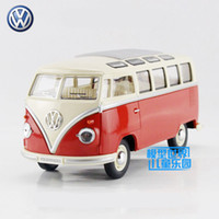 Wholesale Toy Buses For Kids - Free Shipping 1:24 Scale 1962 Volkswagen Classical Bus Educational Model Classical Diecast Metal toy For Kid Collection or Gift