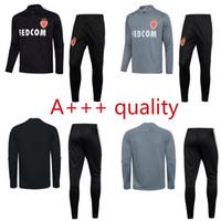Wholesale Club Pants - new 2017 adult Monaco Club tracksuit black grey soccer training suit survetement 17 18 top quality sweater pants