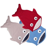 Wholesale Used Baby Beds - In envelope newborn shark sleeping bag for winter use baby swaddle blanket wrap cute cartoon infant sleep bag bedding