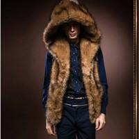colete de moda branco venda por atacado-Atacado- 2017 nova moda masculina de inverno homens colete de pele com capuz de pele grossa quente coletes sem mangas Casaco Outerwear masculino casacos Y279