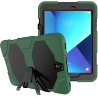 "Wholesale S3 Military Case - Military Extreme Heavy Duty Waterproof Defender Case Cover Hybrid PC + TPU Protector Tablet Case Stand For Samsung Galaxy Tab S3 9.7"" T820"