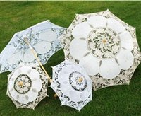 Wholesale Umbrellas Wholesale Beautiful - Lace Parasols Wood Handle 2017 Newest Garden Beautiful Lace Parasol Umbrella For Bridal Wedding Decoration Photography Props White Beige 482