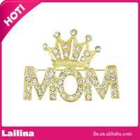 Wholesale Wholesale Mom Pin - 100pcs lot Mother's Day Brooch Pin Rhinestone Crystal Crowned Mom Word Crown Brooches Pins Women Jewelry