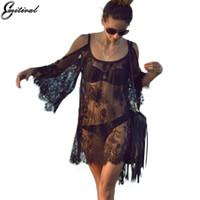 siyah dantel kayma elbisesi toptan satış-2017 yaz kadın seksi plaj kıyafeti elbiseler tığ lace up sheer kayma dress beyaz siyah kadın hippi gezi çıkışı
