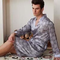 Wholesale Men Lingerie Robe - 0385 Gorgeous Silk Blend Men Sleepwear Sleep Shirts Robes Long Sleeve Gown Nightclothes Nightdress Nightgown Nighties Lingerie Underwear