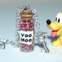 Wholesale Glass Mouse Pendant - 12pcs Mouse Magical Yoo Hoo glass Bottle Necklace with a Mouse Heart Key Charm Inspired necklace