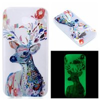 Wholesale Skin Back Cover Luminous Glow - Glow in Dark Luminous Case feather Flower Cute oil Painting skin Soft TPU Back cover For Samsung Galaxy 2017 A3 A5 A7 On5 2016 A320 A520