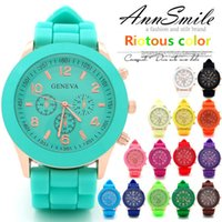 Wholesale Silicone Watches Mint Color - Luxury Mint Green Geneva watch New style Shadow geneva watch Rose Gold color rubber silicone candy unisex Geneva quartz watches