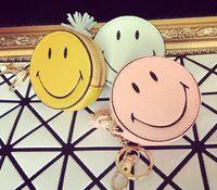 Wholesale Girls Korean Smile - Wholesale- Lovely Cartoon Small Coin Purse Women's Purse Smiling Face Pill Eye Interesting Tassels Bag Pendant Girls Leather Wallet