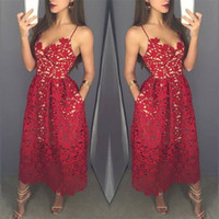 Wholesale Yellow Prom Dresses Straps - Elegant Tea Length Formal Evening Party Dresses 2017 Spaghetti Straps Full Lace Dark Red Short Prom Special Occasion Gowns Arabic Vestidos