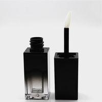ingrosso bottiglie quadrate nere-Gradient Black Square Liquid Lip Gloss Tubo vuoto fai da te lavoro manuale rossetto labbra tubi contenitori cosmetici bottiglie per il trucco 20pcs