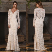 Wholesale Bridal Beach Cover Up - Vintage Full Lace Long Sleeve Wedding Dresses 2017 V Neck Country Style See Through Back Buttons Up Beach Party Bridal Gowns Custom Made