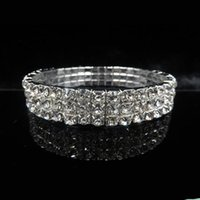 Wholesale Row Stretch Rhinestone Bracelet Crystal - Wedding Evening Party Sillver Bracelet Bling Bling 3 Row Rhinestone Crystal Stretch Bracelets Bangle Prom Bridal Jewelry Wedding Accessory