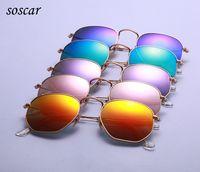 Wholesale Unique Mirror Frames - 2017 Unique Hexagonal Flat Lenses Sunglasses soscar 3548 Brand Designer Sunglasses Metal Frame Coating Sunglasses with Retail Package