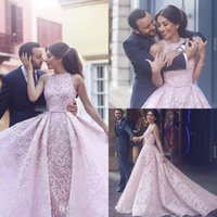 Wholesale beauty plus online - 2018 New Arabic Blush Pink Lace Women Formal Evening Dresses Over Skirts Sleeveless Tulle Arabic Beauty Queen Pageant Dress Gowns for Prom