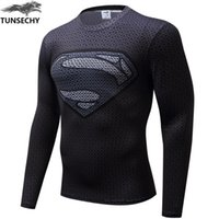 Wholesale Compression T Shirts - brand 2017 New Fitness MMA Compression Shirt Men Anime Bodybuilding Long Sleeve 3D T Shirt Crossfit Tops Shirts