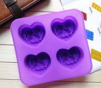 Wholesale Soap Molds Heart Shape - 100% silicone heart shape with angle soap molds  baking molds 4 holes lovely angel cake mold+free shipping