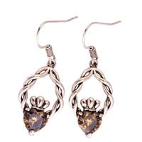 Wholesale Flower Labs - Eardrop Lab Olive Green Peridot Silver Plated dangle Hook Earrings Fashion Jewelry Women Wholesale Free Shipping