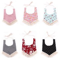 Wholesale Cloth Mouth - 6 color INS Baby cotton bibs Infant Kids Burp Cloths triangular girls boys Stripe Dot Mouth bib with tassel floral adjustable Bibs