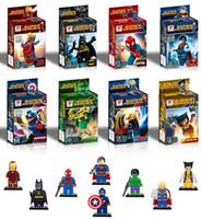Wholesale Diy Building Block Set - Free Shipping Super Heroes The Avengers Iron Man Hulk Batman Wolverine Thor Building Blocks 8pcs Sets DIY Bricks Toys 161024
