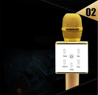 Wholesale Home Karaoke Player - Q7 Wireless mini Microphone Karaoke player Party home KTV Singing Record Bluetooth Speaker For IPhone Android Smartphone