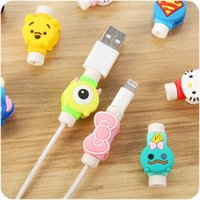 Wholesale Cartoon Winder - Cute Lovely Cartoon Long Cable Protector USB Cable Winder Cover Case Shell For IPhone 6 6s 7s plus Samsung cable Protect