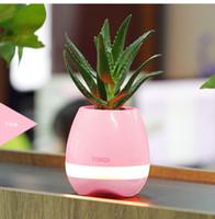 Wholesale Mini Ceramic Vases - Music Flowerpots Multifunction Mini Speaker Bluetooth Smart Touch Plant Vase Light Table Lamp Piano Music Playing K3 Wireless Flowerpot