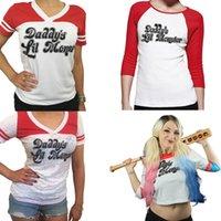 Wholesale Batman Tshirt Women - 2016 Christmas Costumes Batman Suicide Squad Haley Quinn cosplay Daddy's Lil Manster T-shirt harley quinn top tshirt For women