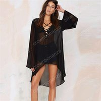 Wholesale Black Swim Cover Up Dress - 2017 New Women Style Swim Black Loose Chiffon Swim Cover Ups Summer Sexy V Neck Party Beach Mini Dress Plus Size