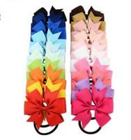 Wholesale High Pony Hair - 8cm high quality grosgrain ribbon hair bow with same color elastic headband for pony tail holder for kids headwear