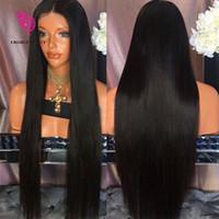 brasilianische menschliche haarlinie großhandel-Brasilianische seidige gerade Spitzefront Menschliches Haar Perücken 130 Dichte Glueless volle Spitzeperücke mit Baby-Haar-natürliche Haar-Linie