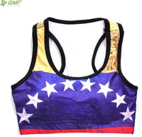 chaleco deportivo blanco mujer al por mayor-Wonder Woman Sports Bras Ropa interior de fitness Sexy Yoga sujetador Golden Blue White Star Running chalecos sin mangas Tops recortadas sin mangas