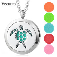 Wholesale Circle Steel Plate - 30mm Essential Oil Diffuser Locket Jewelry Turtle Pendant 316L Stainless Steel Magnetic without Felt Pads VA-405