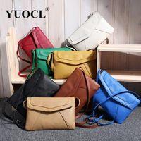 Wholesale Envelope Retro - Wholesale-New Casual Vintage Small Women Bags Leather Messenger Bag Retro Envelope Bag Handbag and Purse Sling Crossbody Shoulder Bag Thin