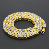 Wholesale Single Rhinestone Necklace - Free shipping 2017 new men hip hop necklace 1 row of single row full alloy Choker Necklace tide products essential Dance Club