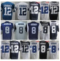 Wholesale Throwback Jerseys Dallas - Wholesale Throwback #8 Troy Aikman Jerseys Cheap Discount #12 Roger Staubach White Blue Stitched Thanksgivings Dallas Jerseys Free Shipping