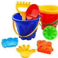 Wholesale Shovel Sand Bucket - Wholesale- 7Pcs Sand Sandbeach Kids Beach Toys Castle Bucket Spade Shovel Rake Water Tools High-grade beach barrels Beach toys for children