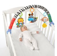 Wholesale cartoon baby cot - Wholesale- In-stock 88CM Zebra Rattles Baby Stroller Bed Crib Hanging Toys For Tots Cots rattles seat cute plush Stroller Mobile Gifts