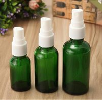 Wholesale Green Cosmetic Spray Bottles - Atomizer Refillable Pump Spray Glass Bottle green 15ml 30ml 50ml Empty Bottle For skin care cosmetic Free shipping
