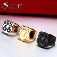 Steel soldier US Size 7-13 retail Cheap Man's Jewelry Stainless Steel Biker ring Route 66 Ring para o Club BR8-126