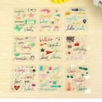 Wholesale Different Stamps - Wholesale- 9Pcs set Fashion Colorful Different Pattern DIY Transparent Rubber Stamp Seal Mini Rubber Stamp #V02033