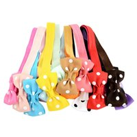 Wholesale cute baby hair bows online - Baby Bow Headbands Girls Polka Dot Bow Headband Cute Infants Boutique Hair Accessories Fashion Child Elastic Hairbands