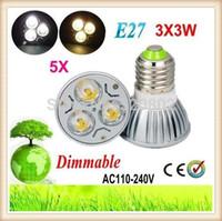 Wholesale Lampe E14 - 5X High power E27 GU10 E14 MR16 3x3 Watt 9 Watt 110 V 220 V Dimmbare Licht lampe Led-Downlight Led-birnen-warmes Reines Kühles weiß