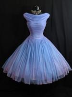 longitud del té de la vendimia vestidos de novia azul al por mayor-Muestra real Vintage 1950's 50s Blue Lilac Chiffon Gown Vestido largo vestido de novia vestidos de novia Vestidos de novia coloridos No blanco