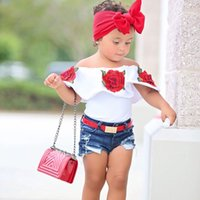 Wholesale Children White Ruffle Shirt - baby shirts 2017 New Flower Embroidery Strapless White Girls T-shirts Summer Ruffle Children Tee Shirt Fashion Kids Tops C1479