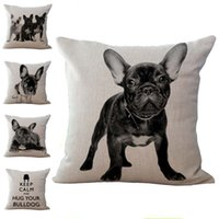 Wholesale Wholesale French Beds - 10 type Cute French bulldog dog print Cotton Linen cushion cover Throw Pillow cases Bedding sets sofa Throw Pillow Cases Pillow case 240367