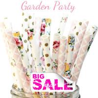 Wholesale Pink Dot Paper - Wholesale-150pcs Mix Colors Garden Party Paper Straws,Gold Swiss Dot,Colorful Flower,Light Pink Damask,Floral,Tea,Wedding,Baby Shower,Bulk