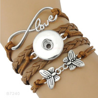 Wholesale bracelet butterfly leather - (10 Pieces Lot)Infinity Love Snap Button Heart To Heart Hope Ribbon Butterfly Charm Leather Bracelets Gift For Women Men Jewelry
