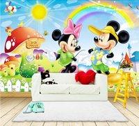 Wholesale Minnie Wallpaper - Mickey & Minnie Photo Wallpaper Catoon Wall Mural For Kids Wall Print Decal Hoom Decor 2 Models